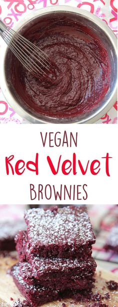 Red Velvet Brownies (Vegan) - These decadent and delicious treats combine classic brownies with red velvet for a festive treat that you would never know are actually vegan! (Red Velvet Pancake From Scratch) Köstliche Desserts, Vegan Dessert Recipes, Baking Recipes, Whole Food Recipes, Vegan Treats, Vegan Foods, Dessert Simple, Brownie Red Velvet, Tortillas Veganas