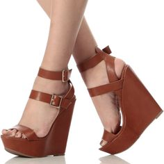 Brown Double Ankle Strap Wedges