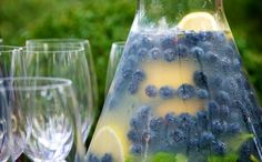 Blueberry Lemonade with Fresh Mint Recipe from The Food Channel. This festive lemonade is deliciously refreshing and makes an attractive addition to your table or picnic. - for when we go blueberry pickin' Refreshing Drinks, Summer Drinks, Fun Drinks, Beverages, Smoothies, Smoothie Drinks, Blueberry Lemonade, Blueberry Vodka, Blueberry Season