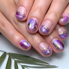 nailsbydannimoore Dripping Gold In Purple Puddles 💜 • @navyprotools Prep - Ethel, Martha, Doris @the_gelbottle_inc Marshmallow, Raspberry, Madam, Rose Gold, Glass Purple, Boysenberry @nailstampingqueenuk Stick it Metallic Nail Polish, Purple Nail Polish, Glitter Nail Art, Nail Art Diy, Easy Nail Art, Trending Nail Polish Colors, Sea Nails, Nail Art For Beginners, New Nail Designs
