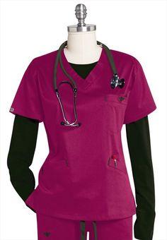 Medcouture by Peaches EZ Flex sport neckline scrub top. New Color!---my fave brand scrubs! Scrubs Outfit, Scrubs Uniform, Nursing Clothes, Nursing Scrubs, Cute Scrubs, Nursing Accessories, Blazers, Scrub Tops, Work Attire