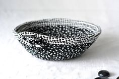 Fun Candy Dish Cute Ring Holder Tray Handmade Fabric Bowl Wedding Gift Baskets, Great Wedding Gifts, Handmade Home Decor, Handmade Pottery, Cute Desk Accessories, Fabric Bowls, Black And White Fabric, Best Candy, Large Baskets
