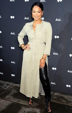 Christina Milian in wrap dress over pants leather leggings