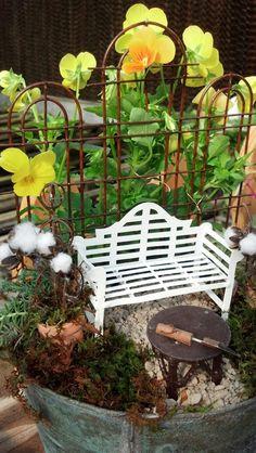 Table top fairy garden, mini garden, Jeremie bench