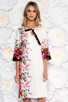 """White daily cotton a-line dress with floral print with 3/4 sleeves, nonelastic cotton, """"V"""" cleavage, without clothing, floral prints, 3/4 sleeves, thin fabric, back zipper fastening"""