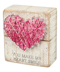 Primitives by Kathy 'You Make My Heart Smile' String Art Box Sign My Funny Valentine, Valentines, Valentine Ideas, Box Signs, Valentine Decorations, String Art, Nail String, You Make Me, Box Art