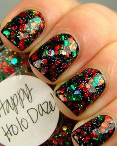 Nails glitter holiday manicures Ideas for 2019 New Year's Nails, Get Nails, Fancy Nails, Love Nails, Sparkly Nails, Chunky Glitter Nails, Classy Nails, Gorgeous Nails, Pretty Nails
