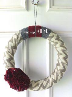 14 inch Grey and White Chevron Burlap-Wrapped Wreath with Burgundy Felt Flowers, Spring Wreath, Summer Wreath, Wedding, Bridal Shower Wreath on Etsy, $30.00