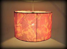 Lamp shade- Yellow Red Hand Painted Silk