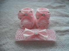 Hand Knitted Baby Girls Pink Booties and Headband Set | eBay