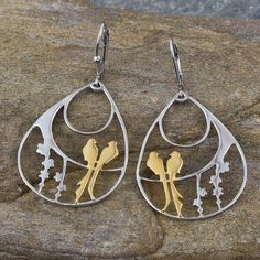 Yellow Gold and Platinum Overlay Sterling Silver Birds Lever Back Earrings, Silver wt 7.50 Gms. | TJC