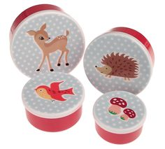 tableware, table accessories, snack pots, lunch boxes, children's snack pots, children's lunch boxes, Woodland snack pots, Dotcomgiftshop, published by Bobby Rabbit £6.95  http://www.dotcomgiftshop.com/round-snack-boxes-set4-woodland