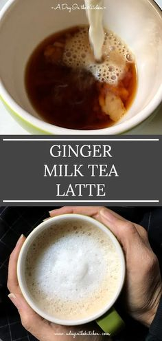 Ginger milk tea latte is a fusion of two different teas…traditional English tea mixed with ginger-infused hot milk and just a touch of honey. It's a deliciously rich and soothing cuppa tea that is sure to keep you warm during the chilly months. Ginger Milk Tea Recipe, Milk Tea Recipes, Ginger Drink, Ginger Tea, Honey Recipes, Ginger Coffee, Healthy Recipes, Coffee Recipes, Rich Tea