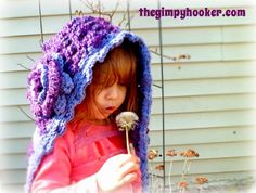 My muse :) The Gimpy Hooker: Crochet Pattern Launch Giveaway! The Posey Pixie Hood! Toddler - Adult sizing, flower clip tutorial, and bonus headband pattern!