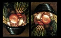 Giuseppe Arcimboldo Vegetables in a Bowl or The Gardener, , , Museo Civico, Cremona. Read more about the symbolism and interpretation of Vegetables in a Bowl or The Gardener by Giuseppe Arcimboldo. Giuseppe Arcimboldo, Optical Illusion Paintings, Optical Illusions, Italian Painters, Italian Artist, Installation Interactive, Stick Art, Painting Wallpaper, Wallpaper Desktop