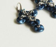 Ripple Crosses. Beaded earrings, beaded cross, ripple beads, metallic blue, denime blue, brass ear hooks, goth earrings, unique jewelry
