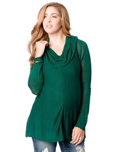 pine green hanky hem cowl neck maternity sweater by Motherhood Maternity | Pregnancy Wishlist