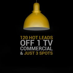 120 hot leads off 1 TV commercials & just 3 spots.  Our client's luxury brand sales went up by 67%...during a recession.  #adsynergy #itswhatwedo