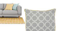 Agadir 100% Linen Cushion 50 x 50cm, Ash Grey and Gold   made.com