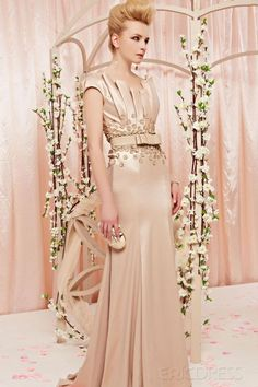 #Luxurious  #Nude Color Dress # Magnificent  #Unique Padded Shoulder  #Short  #Sleeve  #Handmade Floor-length  #Evening Dress.