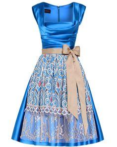 Party dress dirndl with fab apron - Talbot Runhof whoa nice bodice