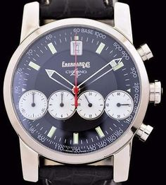 Excellent SS Eberhard & Co. 4 Chrono Wrist Watch with Chronograph Ref: 31041