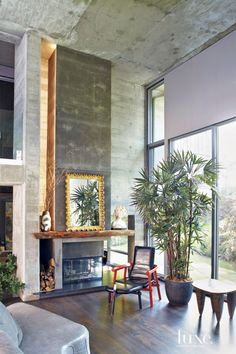 Modern Neutral Sitting Area with African Stool