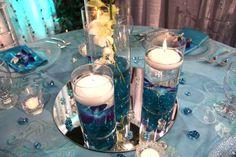 Centre de table mariage bleu bougie ffleur vase