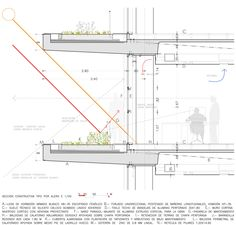 Image 46 of 46 from gallery of Multipurpose Administration Building for the Council of Castilla y León in Salamanca / Sánchez Gil Arquitectos. Green Architecture, Architecture Drawings, Architecture Portfolio, Contemporary Architecture, Architecture Details, Passive Design, Building Section, Living Roofs, Construction Drawings