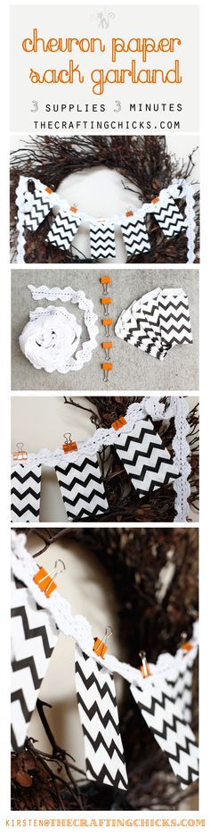 Chevron Paper Sack Garland, 3 supplies, 3 mintues :) at thecraftingchicks.com #halloween #papersack #chevron #garland #halloweencrafts #craftingchicks #thecraftingchicks