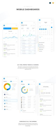 40 Mobile Dashboard UI Screens to help you design beautiful interfaces for your clients. The Sketch file comes with two Typefaces: 1. Montserrat, which is a Google Free Web Font and 2. Proxima Nova, which is an amazing font family. It's important to note that since Proxima Nova is a premium font, you will need to purchase it separately. Also, please note that only some of the screens come in the dark version. This pack will allow you to create top-notch UI experiences in a matter of hours...
