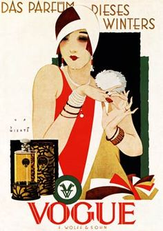 Vogue Perfume, 1927 Art Deco poster by Jupp Wiertz for the German scent, The Perfume for This Winter.
