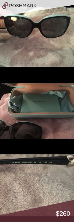 Tiffany & Co. Sunglasses Authentic Tiffany and Co. Sunglasses with case, certificate of authenticity and no scratches or scuffs on the glasses. I just purchased them off of eBay but they are a little too big for me. Tiffany & Co. Accessories Sunglasses