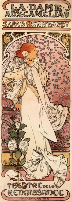 Alphonse Mucha, 'La Dame aux Camelias', Vintage poster in Art Nouveau style. Mucha Art Nouveau, Alphonse Mucha Art, Art Nouveau Poster, Art And Illustration, Illustrations Posters, Retro Poster, Vintage Posters, Vintage Art, Jugendstil Design