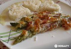 Csőben sült baconos spárga Mozzarella, Risotto, Bacon, Food And Drink, Rice, Chicken, Ethnic Recipes, Pork Belly, Laughter
