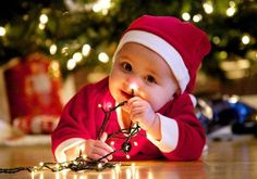 #baby with #lights at #xmas #cute #letterstosanta www.fatherchristmasletters.co.uk/pinterest