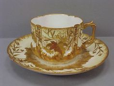 Antique LS s Limoges France Heavy Gold Cup Saucer Set