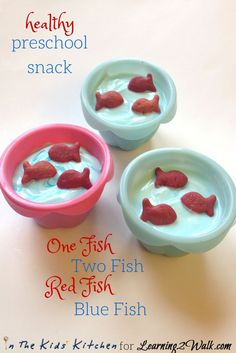 Healthy and Easy Dr Seuss Snacks for Preschool, Easy Preschool Snack inspired by Dr. Seuss's One Fish Two Fish Red Fish Blue Fish. Red Fish Blue Fish, One Fish Two Fish, Healthy Preschool Snacks, Healthy Snacks, Kid Snacks, Party Snacks, Dr Seuss Snacks, Dr. Seuss, Kid Friendly Meals