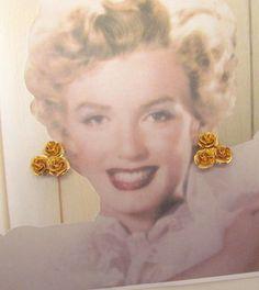 Coro flower earrings vintage golden dimensional roses by lolatrail, $10.00