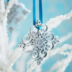 Beautiful Christmas paper ornaments Quilled Snowflake