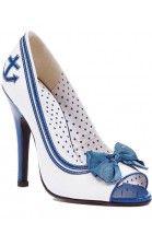 "Bettie Page™ ""Anchor"" Open Toe Heel (White/Blue)"