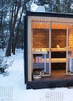 """No room in your house for a sauna? Create an """"Out Sauna! Diy Sauna, Sauna Steam Room, Sauna Room, Sauna Hammam, Cabana, Building A Sauna, Sauna Shower, Sauna House, Outdoor Sauna"""