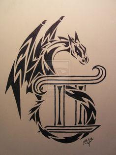 cool tribal dragon gemini tattoo