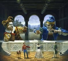 Michael Cheval - Art of Diplomacy II (Reality of Absurdity); oil on canvas