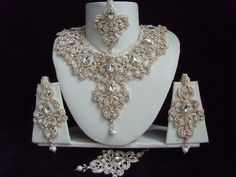 BOLLYWOOD BRIDAL JEWELLERY NECKLACE EARRINGS BINDI SET CLEAR IVORY ROSE GOLD NEW