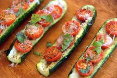 Baked Zucchini Boats with Cherry Tomatoes
