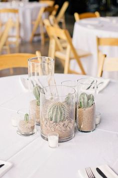 Modern Desert // Wedding // cactus // sand // decoration // Made From Scratch Wedding Centerpieces, Wedding Table, Wedding Decorations, Table Decorations, Wedding Ideas Candles, Wedding Hair, Masquerade Centerpieces, Modern Centerpieces, Wedding Greenery