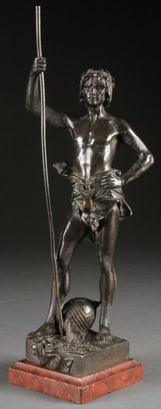 """HENRI HONOR PLE  (French 1853-1922) Triumphator Bronze with dark brown patina raised on """"Griotte"""" marble plinth Signed on base """"Henri Ple"""" and with integral title plaque."""