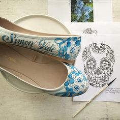 Then brides send her whatever shoes they would like painted — whether those are heels, flats, or sneakers.