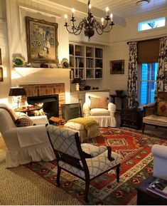 Living Room Decor Country, French Country Living Room, Living Room Decor Traditional, Cozy Living Rooms, Home Living Room, Living Room Designs, Country Decor, Southern Living, Country Style